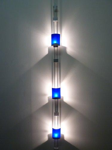 12V moderne Halogen Wandleuchte Schienenleuchte Bella mit Kabel, satiniertes Glas blau, auch für die Ecke geeignet