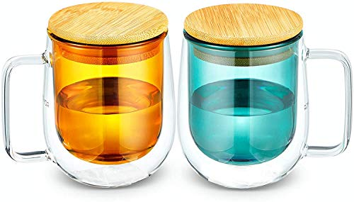 BPDD Water cup Glass Tea Coffee Mug Set with Wood Lid, Double Wall Borosilicate Glass Cups for Coffee, Tea, Water, Cocoa, Milk, 250ml