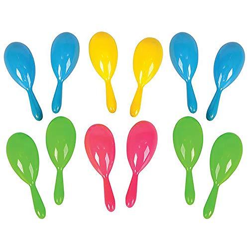 The Dreidel Company Plastic Neon Maracas, Four Bright Colors 4' (12-Pack)