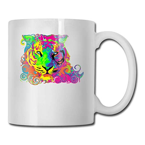 Daawqee Becher Coffee Mug 11oz Funny Cup Milk Juice Or Tea Cup Rainbow Tiger Birthday