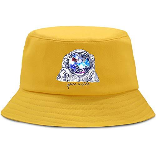 JXMK 56-58cm Astronauta Mariposa Espacio Sombrero de Cubo de Moda e Interesante Sombrero de Pesca para Hombres y Mujeres protección Solar sombrilla Sombrero Ocio Sombrero de Pescador al Aire Libre