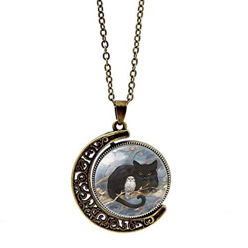 QZH Collar largo para mujer, piedra preciosa del tiempo, cobre negro, gato, búho, animal de doble cara, giratorio, collar europeo y americano con colgante de cristal, cadena de suéter retro