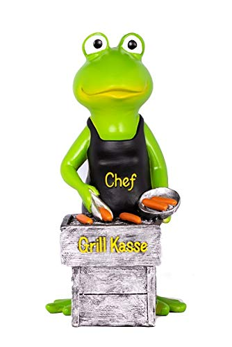 Topshop24you wunderschöne große hochwertige Sparbüchse,Sparschwein Grillkasse,Spardose Grill,Grillmeister,Grillgut,Frosch mit Grill aus Polyresin