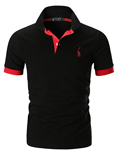 STTLZMC Polo Uomo Manica Corta Basic Tennis T-Shirt Casual Gentiluomo Poloshirt Cotone,Nero,S