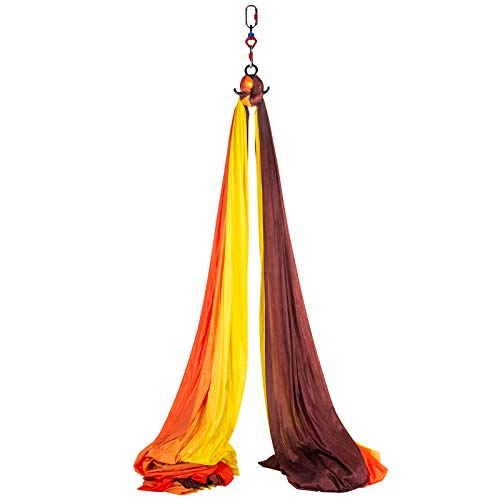 VEVOR Columpio de Yoga 10x2,8M Hamaca de Yoga/Yoga Aéreo, Columpio de Yoga Aéreo, Swing Sling Inversión, para Pilates Aerial Yoga (Rojo Amarillo)