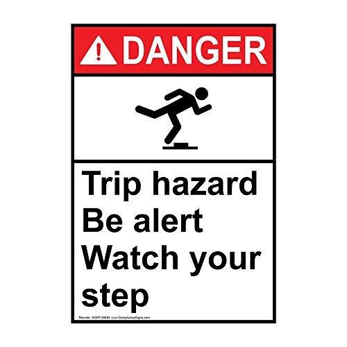 wendana Gevaar Trip Gevaar Wees Alert Let op Uw Stap Sign, Grappige Tin Metalen Waarschuwingsborden voor Eigendom, Aluminium, Poort Sign, Hek Teken Buiten, 8