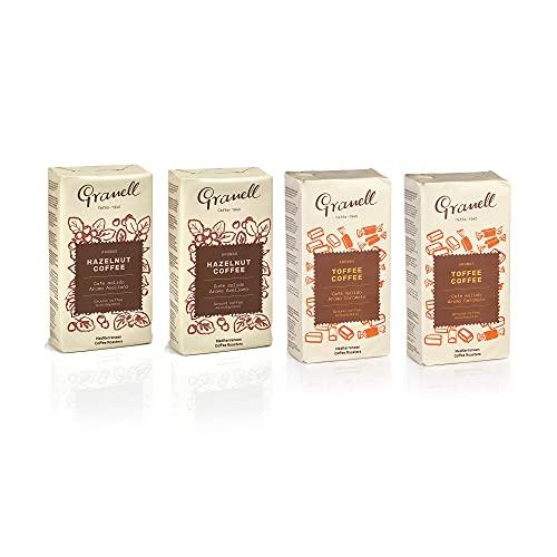 Cafes Granell-1940 - Pack Degustacion Café Avellana y Toffee   Cafe Molido 100% Café Arabica - Cafe Molido Avellana + Cafe Molido Caramelo - 4x250 Gramos