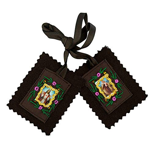 VILLAGE GIFT IMPORTERS Assorted Economy Scapulars | 100% Cloth Wool | 14 Different Scapular Necklaces | Affordable and Authentic | Christian Jewelry (Large Brown Felt Scapular)