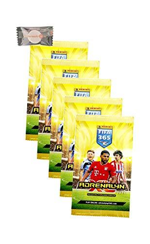 XL Panini Adrenalyn FIFA 365 Karten Trading Cards 2021 - 5 Booster + Stickermarkt24de Gum