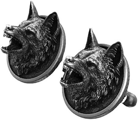 1Par Men's Cuff Links Pure Tin Handmade Three-Dimensional Wolf Head Retro French Shirt Cufflinks Dress Suit Cuff Button (A)
