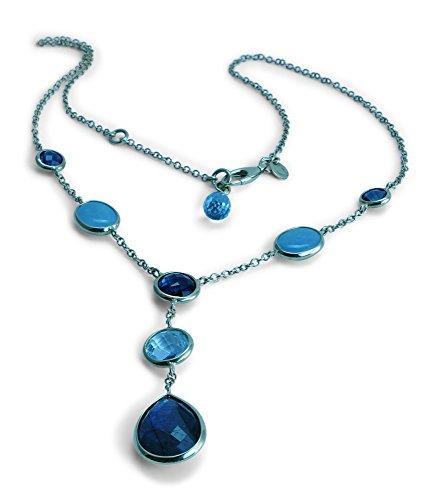 Damen Collier Halskette 14 ct 585 Gelbgold Ankerkette mit blauen Edelsteinen Aquamarin Labradorit Blautopas 42 cm H03-A0020