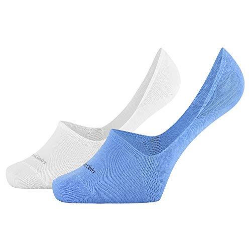 Calvin Klein Socks Mens CK WOMEN LINER 2P LOGO CUFF STRIPE SPENCER Socks, Blue Combo, 43/46
