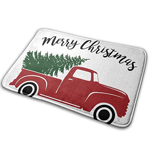 YINCHAOJI Bathroom Rugs Bath Mat Door Mats Merry Christmas Red Pickup with Tree Memory Foam Front Kitchen Rug Carpet for Kitchen Hall Inside Outdoor 15.7 x 23.5 in