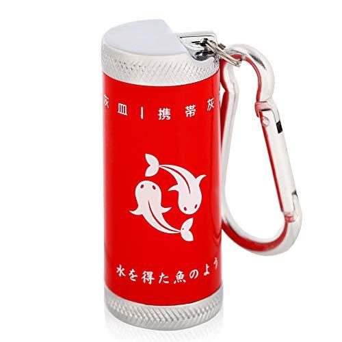 携帯灰皿 車 灰皿 ふた付き カラビナ 軽量 屋外用 ブラック レッド ブルー (red)