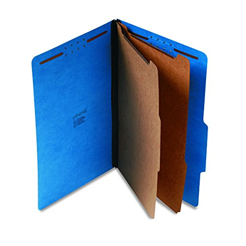 Universal 10311 Pressboard Classification Folders, Legal, Six-Section, Cobalt Blue (Box of 10)