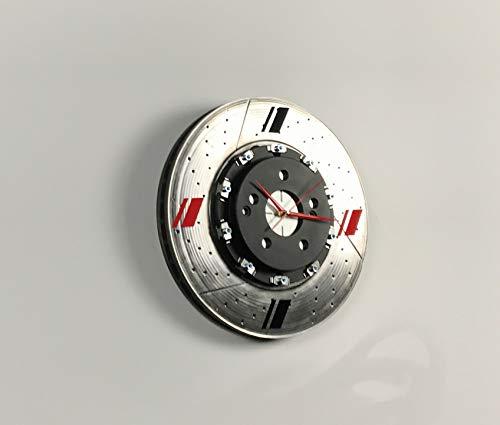 Uhr Wanduhr Bremsscheibe Wohnaccessoire Art Kunst Holz Aluminium Clock Time Modern Deko