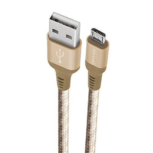 Cabo Micro USB, nylon trançado, para dispositivo Android e acessórios ,1.5MT, Golden (Dourado), MIC15G, Geonav