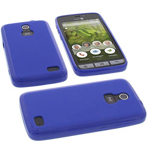 Tasche für Doro 8031 Hülle Gummi TPU Schutz Handytasche blau