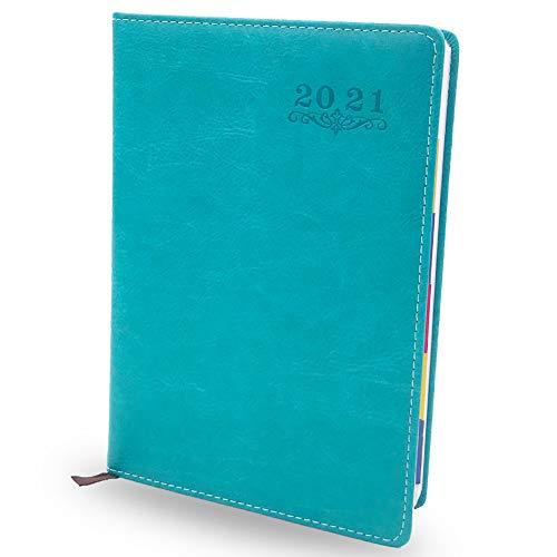 Agenda 2021 - WENTS Calendario A5 con Vista Semanal, Agenda Daily Hermosa planificador semanal de Enero a Dic 2021 para citas con resumen mensual(Azul)