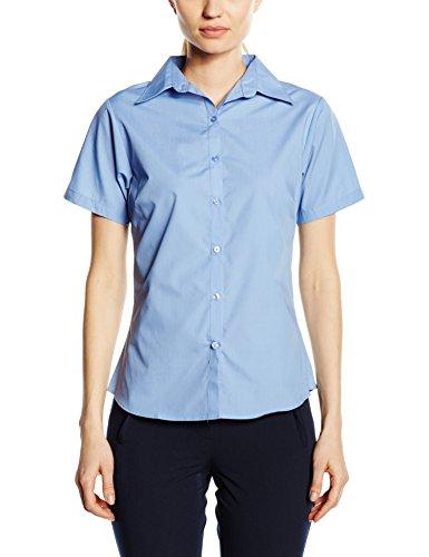 Price comparison product image Premier Workwear Ladies Short Sleeve Poplin Blouse Mid Blue 14