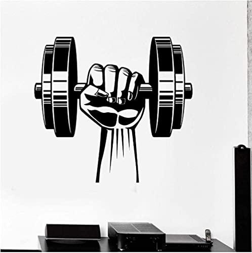 Extraíble de alta calidad etiqueta de la pared de PVC mano mancuerna cara hogar gimnasio pared fitness ejercicio etiqueta dormitorio dormitorio ejercicio 62x56 cm