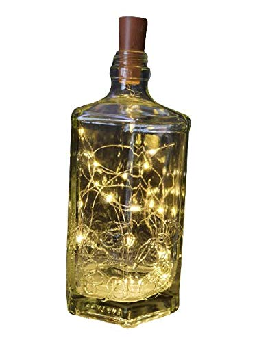 Flaschenlampe Tischlampe Lampe Licht Lichterkette Gin Rum Wodka Flasche Spirituosen Flaschen - Deko Geschenk Geschenkidee (Kristall)