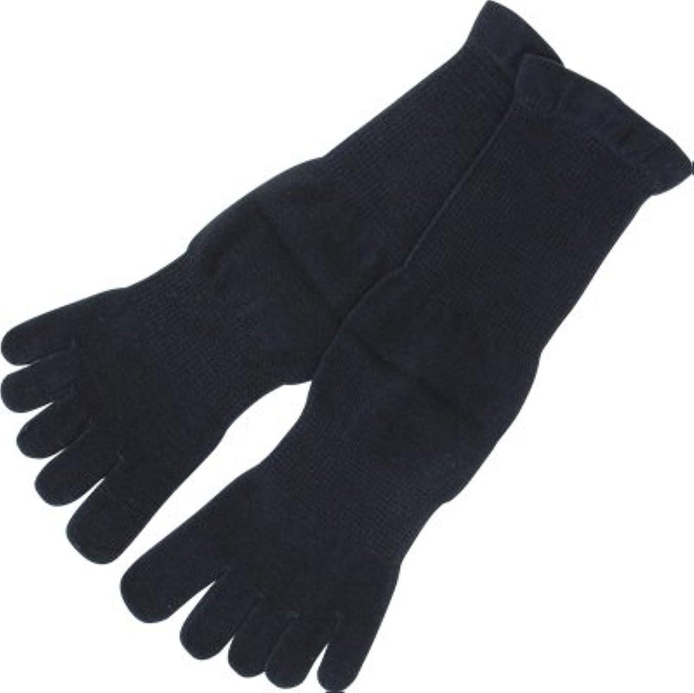 上へ言うまでもなく副フォロイング オーガニックコットン 裏糸なし5本指薄手ソックス 黒