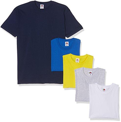 Fruit of the Loom Valueweight Short Sleeve Camiseta, Gris/Blanco/Amarillo/Real/Azul Marino, S (Pack de 5) para Hombre
