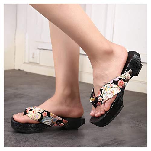 OFFA Pantuflas Pantuflas Zapatillas para Mujeres Sandalias Japonesas, Zapatos De Sandalias Japonesas, Chanclas De Deslizamiento, Pantalones De Madera, Zapatos Planos De Verano, Zapatos De Mujer.