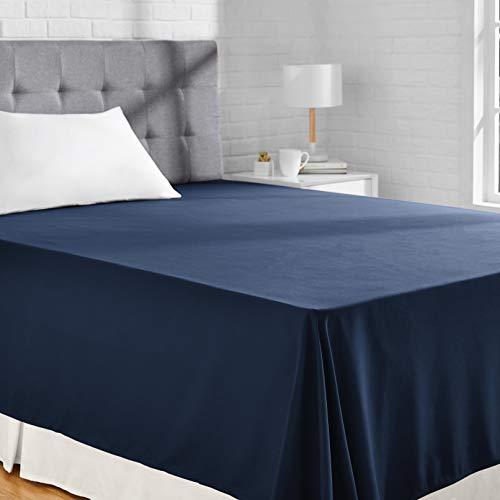 Amazon Basics Hoja de Microfibra, Navy Blue, 230 x 260 + 10 cm