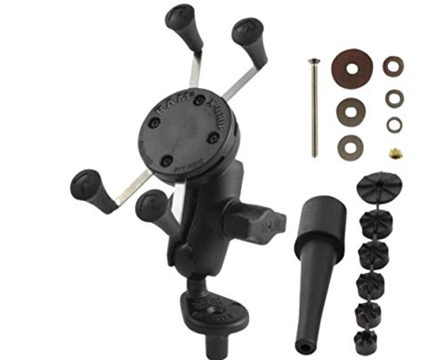 RAM MOUNTS RAM-B-176-A-UN7 Fork Stem Mount with Short Double Socket Arm and Universal X-Grip Cell/iPhone Holder