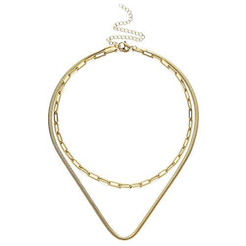 JEFEYI Collar de Cadena de Serpiente Plana de múltiples Capas de Acero Inoxidable para Mujeres, Hombres, Cadena de Clip de Papel, Gargantilla, Collares, Conjuntos, joyería de Hip Hop, Color Dorado