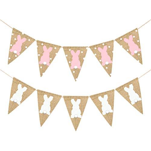BESTOYARD 2 Stück Oster-Wimpelkette, Banner, Kaninchen, Wellenspitze, Girlande für Oster-Party-Dekorationen (Weiß + Pink)