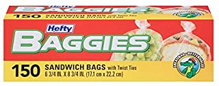 Hefty Baggies Storage Bags (Sandwich, Twist Tie, 150 Count)