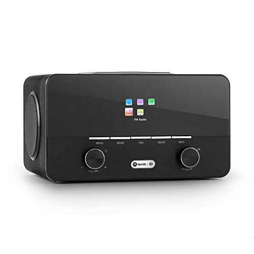 Auna Connect 150 BK 2.1 - Internet Radio, Radio Digitale, WLAN, Network Player, Wi-Fi, LAN, Dab/Dab+/ sintonizzatore UKW con RDS, Porta USB-MP3, Telecomando, Supporto in Legno, Nero