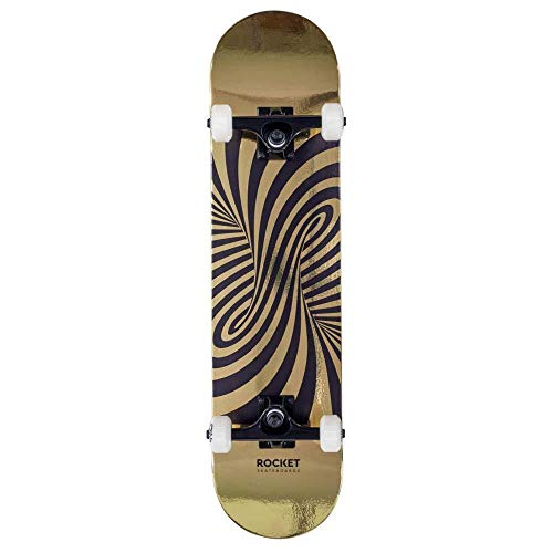 Rocket Factory - Skateboard completo in stagnola, 19,5 cm, colore: Oro