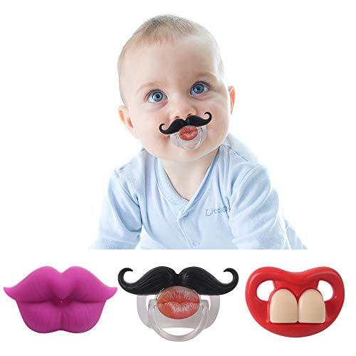 SSOLIFEGOBLE Mustache Pacifier,Kissable Mustache Pacifier,Funny Baby Pacifier, Pacifier 0-6 Months, BPA Free, 3 Pack