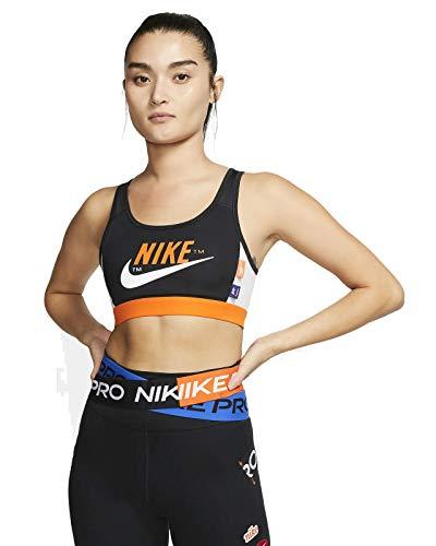 Nike Damen MED PAD ICNCLSH Bra Sports, Black/Safety orange/Vast Grey/(White), S