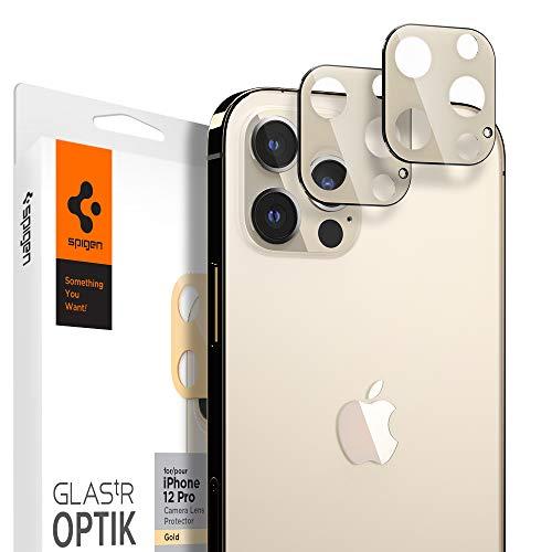 Spigen Glas.tR Optik Kamera Panzerglas kompatibel mit iPhone 12 Pro, 2 Stück, Gold, Anti-Kratzer, 9H Härte Schutzfolie