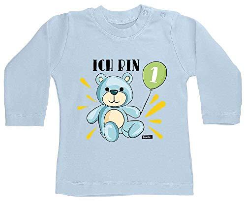 Hariz - Camiseta de manga larga para bebé, con globos, para 1 cumpleaños, tarjeta de regalo, azul claro, 12 – 18 meses