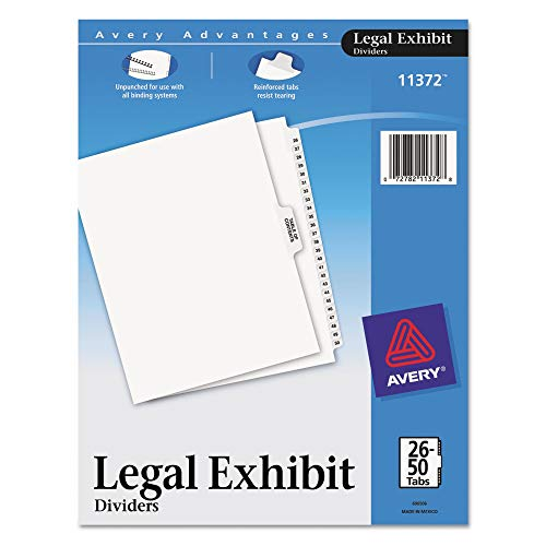Avery Premium Collated Legal Exhibit Divider Set, Avery Style, 26-50 and Table of Contents, Side Tab, 8.5 x 11 Inches, 1 Set (11372), White