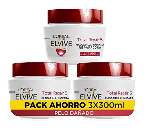 L'Oréal Paris Elvive Total Repair 5 Mascarilla Reparadora - pack de 3 unidades x 300 ml - total: 900 ml