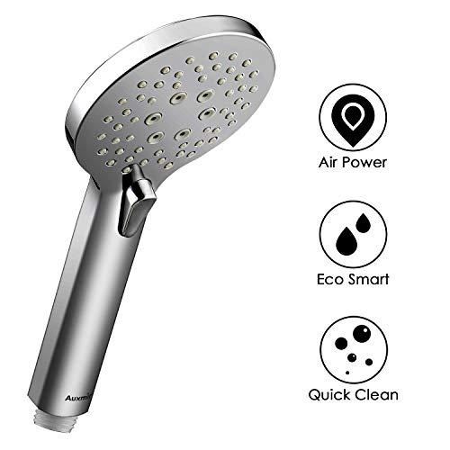 Auxmir Duschkopf Chrome Handbrause mit 3/5 Strahlarten, Hochdruck Wassersparende Duschbrause mit 100mm Durchmesser für Badezimmer, Spa