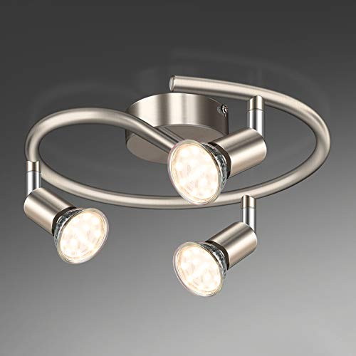 Unicozin Lámpara de Techo LED 3 Focos Ajustables y Giratorios, incl. 3 X Bombillas GU10 3.5W 380LM Blanco Cálido, Níquel Mate para dormitorio habitacion salon cocina, Espiral