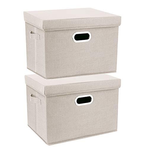 TYEERS 2 Paquetes Caja de Almacenamiento con Tapa y Asa, Cestas de Almacenaje Plegables de Ropa de Algodón Lino, Organizadores de Almacenamiento de Juguetes, Estantes, Ropa y Libros, etc. - Beige