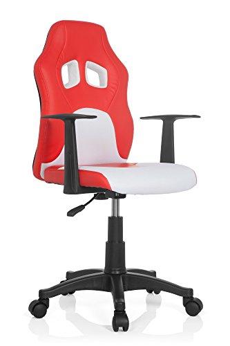 hjh OFFICE 670760 silla para niños TEEN RACER AL piel sintética rojo blanco con reposabrazos