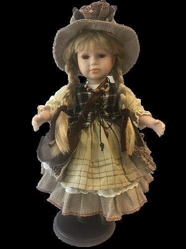 rf collection Porzellan-Puppe mit Tasche und Hut, 42 cm, Holzständer