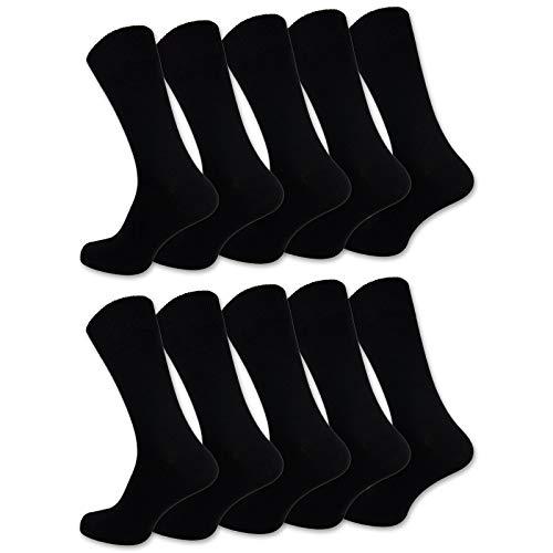 10 Paar Socken Herren Damen Baumwolle Schwarz Business Herrensocken Classic (47-50, Schwarz)
