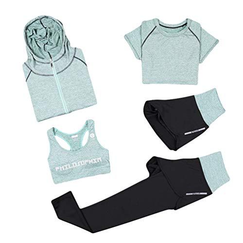 Xinwcang Damen Trainingsanzug 5 Stück Set Atmungsaktiv Gym Fitness Kleidung Set Schnell trocknend Trainingsanzug Laufbekleidung Set Grün S