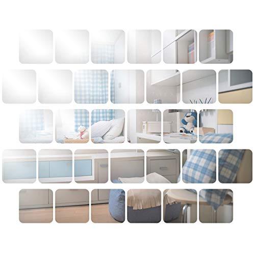 Anladia 32 Stück Spiegelfliesen Wandspiegel Selbstklebend15x15cm, Silber Runder Kunst-Spiegel Wandaufkleber aus PET für Badezimmer, Küche, Wohnzimmer, Umkleidekabine